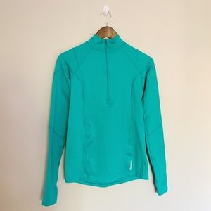 REEBOK Turquoise Compression Mock Neck Running Top